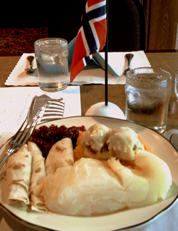 Norwegian Constitution Day dinner in Minnesota, United States, with lutefisk, lefse, and meatballs