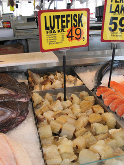 Lutefisk in a Norwegian market
