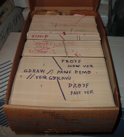 Data and instructions were once stored on external punched cards, which were kept in order and arranged in program decks.