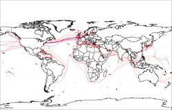 2007 map showing submarine optical fiber telecommunication cables around the world.