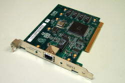 An                                 ATM                                network interface in the form of an accessory card. A lot of network interfaces are built-in.