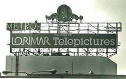The MGM sign being dismantled once Lorimar took control of the studio lot