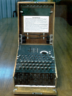 The German military used the Enigma machine (shown here) during World War II for communications they wanted kept secret. The large-scale decryption of Enigma traffic at Bletchley Park was an important factor that contributed to Allied victory in WWII.