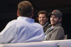 Michael Arrington interviewing Oseary and Ashton Kutcher at TechCrunch Disrupt 2013 in New York