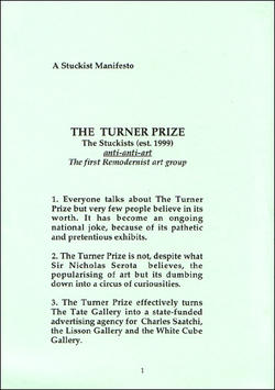 Front cover of the 4 page A6-size                                 Stuckist                                                 Turner Prize                                manifesto