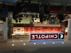 A Chipotle restaurant in Brandon, Florida, having the typical service-line layout with menu above
