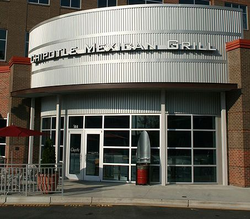 The exterior of a Chipotle in Durham, North Carolina
