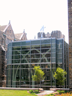 The von der Heyden Pavilion is a popular place among students for gathering and studying.