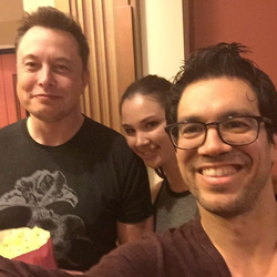 Tai with Elon Musk at the movies.