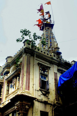 The temple of local Hindu goddess Mumbadevi, from whom the city of Mumbai derives its name