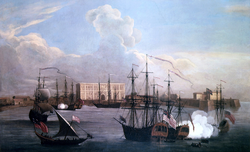 Ships in Bombay Harbour (c. 1731). Bombay emerged as a significant trading town during the mid-18th century.