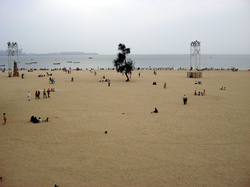 Girgaum Chowpatty beach. Beaches are a popular tourist attraction in the city.