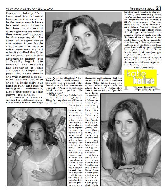 """Katie'sYale Rumpus """"50 Most Beautiful People""""article."""