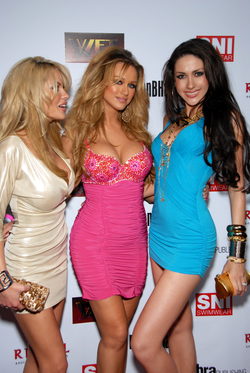 Glamour models posing on the red carpet — Hollywood, CA, USA 03/09/2008