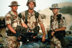U.S. Army soldiers from the                                 11th Air Defense Artillery Brigade                                during the Gulf War
