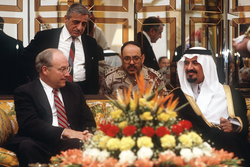Cheney meets with                                 Prince Sultan, Minister of Defence and Aviation                                in Saudi Arabia to discuss how to handle the                                 invasion of Kuwait