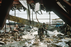 Aftermath of an Iraq Armed Forces strike on U.S. barracks.