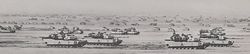 U.S. tanks from the                                 3rd Armored Division                                along the Line of Departure.