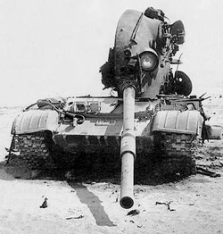 Iraqi                                 T-62                                knocked out by                                 3rd Armored Division                                fire