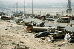 Destroyed Iraqi civilian and military vehicles on the                                 Highway of Death                                .