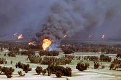 The oil fires caused were a result of the                                 scorched earth                                policy of Iraqi                                 military forces                                retreating from Kuwait