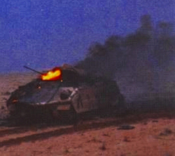 Bradley IFV burns after being hit by Iraqi                                 T-72                                fire