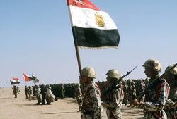Coalition troops from Egypt, Syria, Oman, France and Kuwait during Operation Desert Storm.