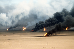 Oil well fires rage outside Kuwait City in 1991