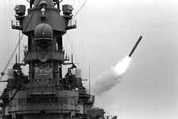 The                                 USS Missouri                                launches a                                 Tomahawk missile                                . The Gulf War was the last conflict in which                                 battleships                                were deployed in a combat role (as of 2016)