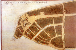 The Castello Plan showing the Dutch colonial city of New Amsterdam in 1660– then confined to the southern tip of Manhattan Island.