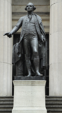 J.Q.A. Ward's statue of George Washington in front of Federal Hall (on Wall Street) where he was inaugurated as the first U.S. President in 1789.