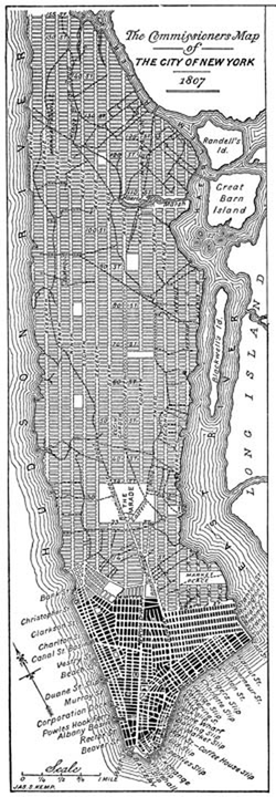 Modern redrawing of 1807 version of Commissioner's Grid plan for Manhattan, a few years before 1811 adoption. Central Park is absent. Dark color denotes existing blocks, light gray were planned.