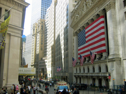 The New York Stock Exchange on Wall Street, the world's largest stock exchange by total market capitalization of its listed companies.