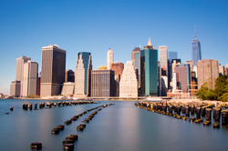 The Financial District of Lower Manhattan, viewed from Brooklyn.