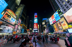 Times Square is the hub of the Broadway theater district and a major cultural venue in Manhattan. It also has one of the highest annual attendance rates of any tourist attraction in the world, estimated at 50 million.
