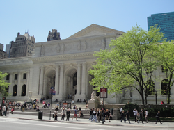 New York Public Library Main Branch at 42nd St. and Fifth Ave.; built (1897–1911) and replaced the Croton Reservoir; Carrère and Hastings, architects.
