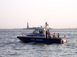 An NYPD boat patrols New York Harbor