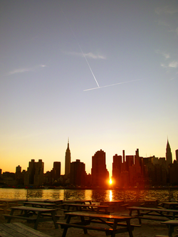 Manhattanhenge, as seen looking westward at sunset in June 2005