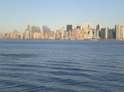 View Manhattan skylines, from Hudson River
