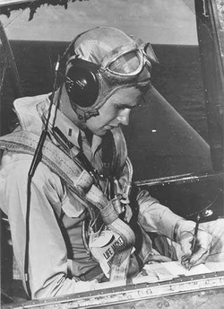George Bush in his  Grumman TBM Avenger  on the carrier  USS San Jacinto  in 1944