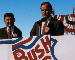 Vice President Bush campaigns in St. Louis, Missouri, with  John Ashcroft  , 1988