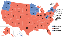 The 1988 presidential electoral votes by state