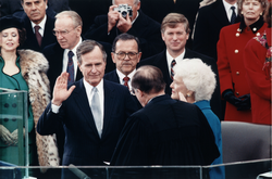 Chief Justice  William Rehnquist  administering the oath of office to President Bush during Inaugural ceremonies at the  United States Capitol  , January 20, 1989.