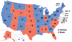 The 1992 presidential electoral votes by state