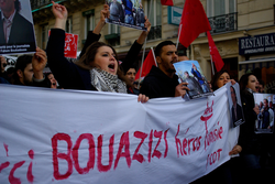 "A French protest in support of ""the Hero of Tunisia"", on 15 January 2011"
