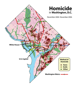 Gun and overall homicides in                                 Washington, D.C.                                are concentrated in crime hot spots located in neighborhoods (including                                 Shaw                                ,                                 Sursum Corda                                ,                                 Trinidad                                ,                                 Anacostia                                , and                                 Congress Heights                                ) with                                 socio-economic                                disadvantage, while homicide is rare in other neighborhoods.