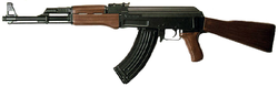 Semi-automatic versions of the                                 AK-47                                                 assault rifle                                were affected under the 1994 ban