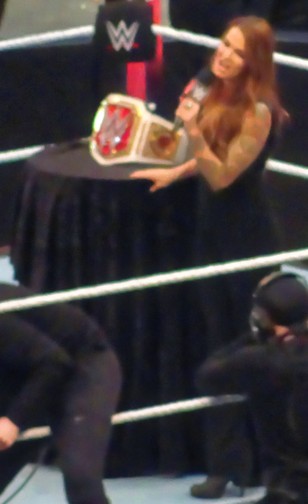 Lita during the presentation of the WWE Women's Championship at WrestleMania 32 in April 2016