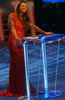 Lita during her induction speech at the WWE Hall of Fame in April 7, 2014