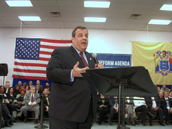 Christie at a town hall meeting in                                 Union City, New Jersey                                , on February 9, 2011